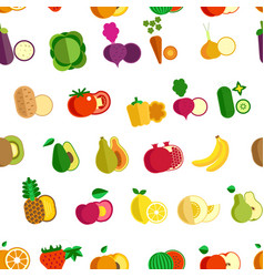 Fruit and vegetables seamless pattern farm organic vector