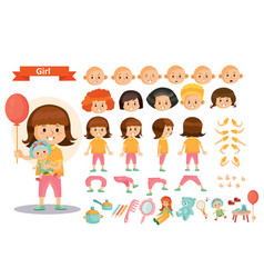 Girl kid playing toys cartoon child vector
