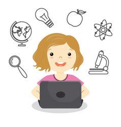 Girl studying online vector