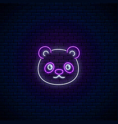 glowing neon sign of cute panda in kawaii style vector image