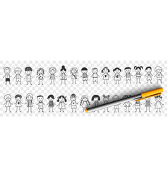 happy boys and girls doodle set vector image