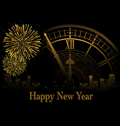 Happy new year greeting with clock vector