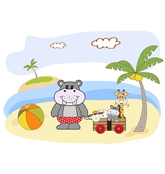 Hippo play on the beach vector