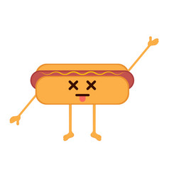 Isolated dead hot dog emote vector