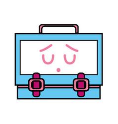 Kawaii cute sad suitcase design vector