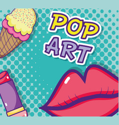 Kiss pop art cartoon vector