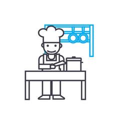 kitchen staff linear icon concept kitchen staff vector image