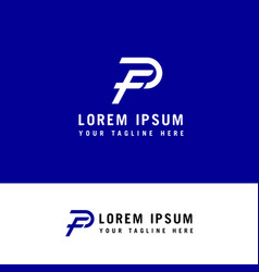 letter fp pf logo f and p monogram line style vector image
