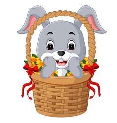 Little cartoon rabbit sitting in a bucket vector