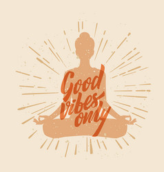 Lotus yoga pose woman with text vector
