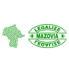 Marijuana leaves mosaic mazovia province map with vector