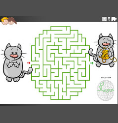 Maze educational game with cartoon cat and yarn vector
