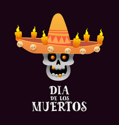 mexican skull with sombrero and candles on a dark vector image