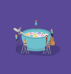 mini people group with cereal and milk vector image