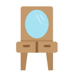 Mirror with table flat icon furniture interior vector