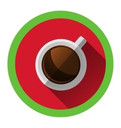 Modern flat icon with white cup of hot coffee and vector