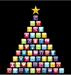 Multimeedia icons Christmas Tree vector image