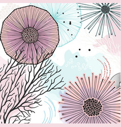 Nature doodles texture abstract han drawn vector
