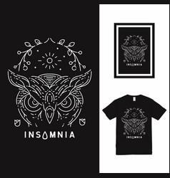 Owl insomnia line art t shirt design vector