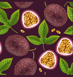 Passionfruits and leaves seamless vector