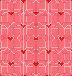 Pattern with Isometric hearts Valentines day vector
