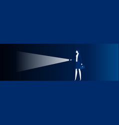 People holding a flashlight to explore dark vector