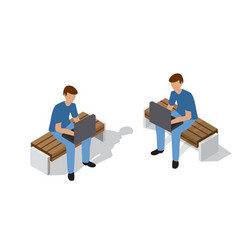 People sitting on a bench vector