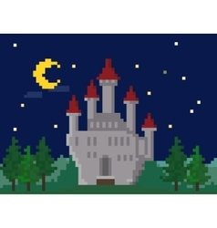 Pixel Night Landscape With Castle vector