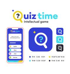 quiz sign app template vector image