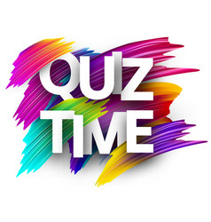 Quiz time sign with colorful brush strokes vector