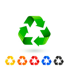 Resycle icons set waste sorting segregation vector