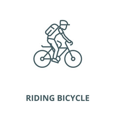 Riding bicycle line icon linear concept vector
