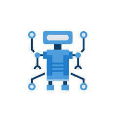 robot blue flat icon on white background vector image