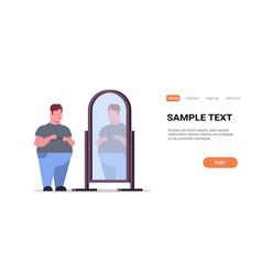 sad overweight man looking at himself reflection vector image