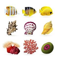 Sea Fauna Icons vector