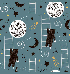 Seamless childish pattern with bears stars and vector