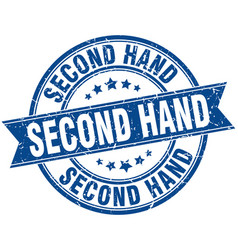 Second hand round grunge ribbon stamp vector