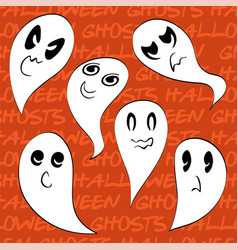 Set 6 spooky ghosts png vector