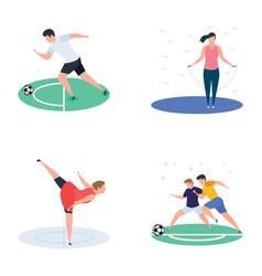 set cricket hockey sports player icons vector image