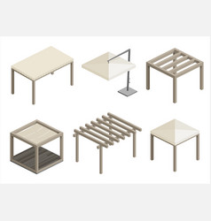 set of beach pavilions vector image