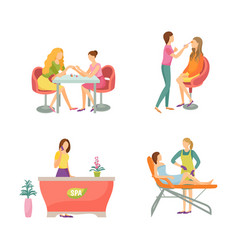 Spa salon manicure and epilation icons set vector