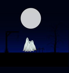 spooky background with three ghosts vector image