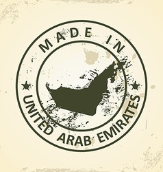 Stamp with map of United Arab Emirates vector image