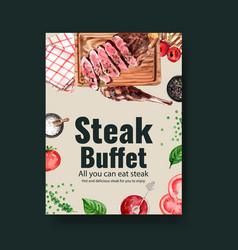 Steak poster design with napkins beef vector