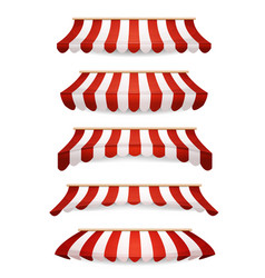 Striped awnings for market store vector