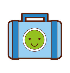 suitcase with stickers style vector image