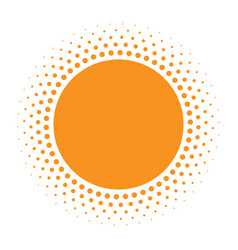 Sun icon halftone orange circle vector