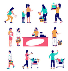 supermarket customers set flat isolated vector image