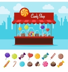 Sweet Candy Flat Composition vector