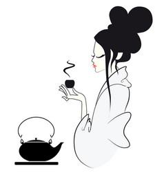 tea ceremony geisha japanese style vector image